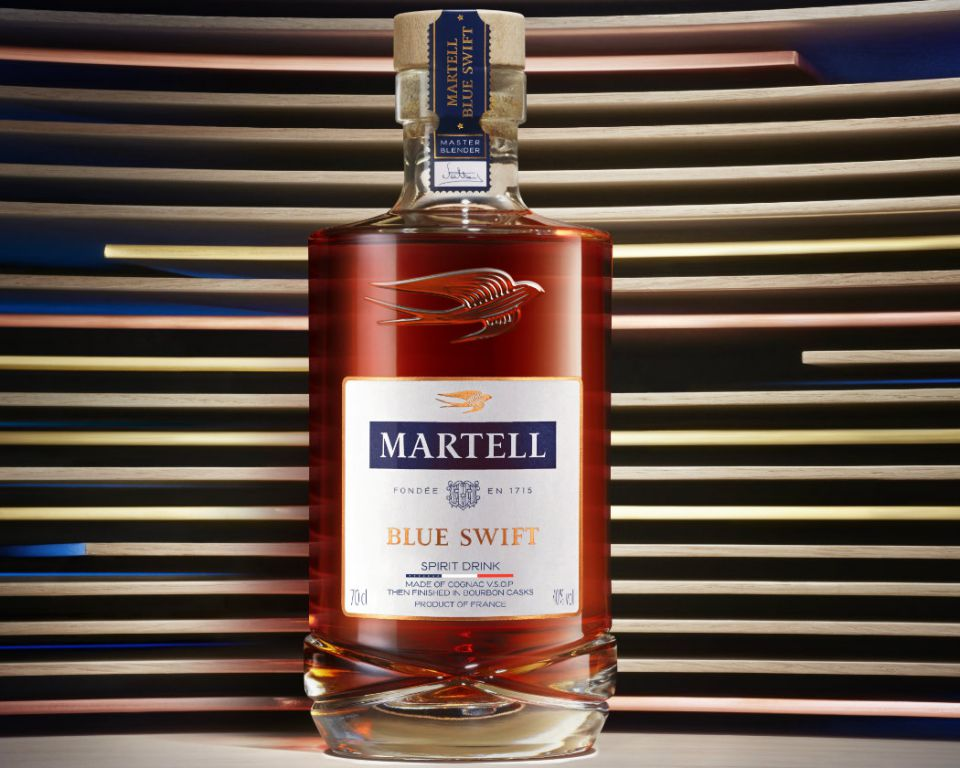 Martell Blue Swift - A spirit drink made of cognac vsop then finished in kentucky bourbon casks.