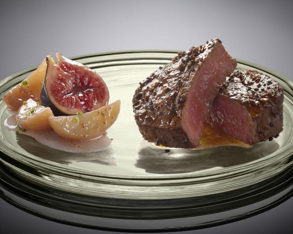 filet parthenais beef pepper sauce charlotte potatoes and black figs