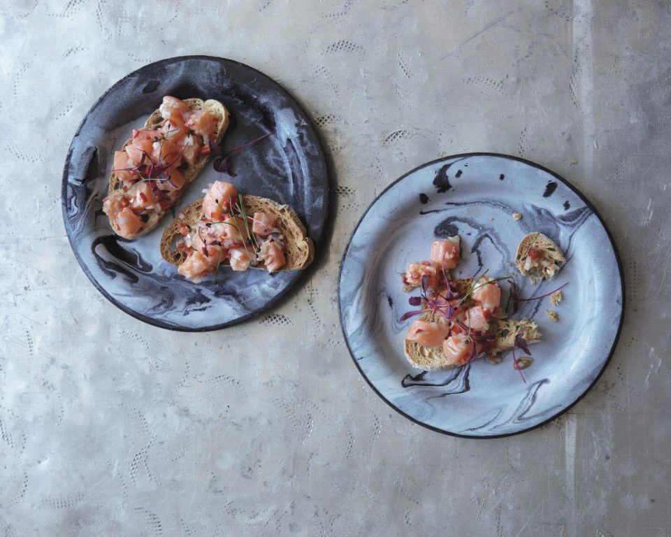 Salmon Cheviche Toasts - By James Ramsden