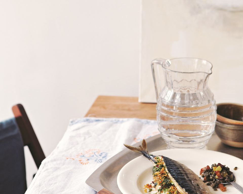 Roast stuffed Mackerel with lentils and bacon - By James Ramsden