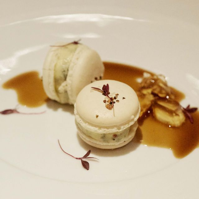 Roquefort macaron, pickled walnuts and martell