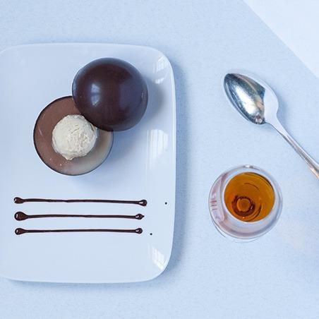 Royal Foie Gras  Surprise chocolate sphere