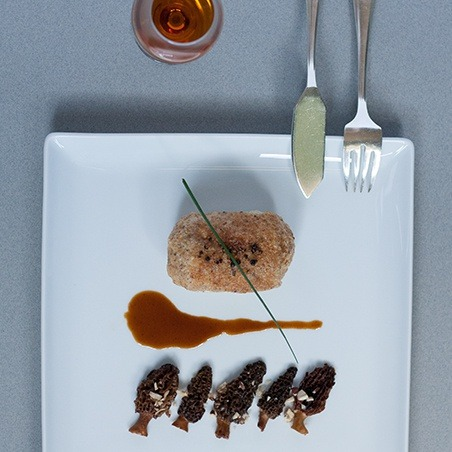 Surprise chocolate sphere  Turbot fillet